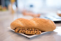 Bread bakery on table blur background.  royalty free stock photos