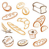 Bread, bakery. Vector Set of bread and breakfast royalty free illustration