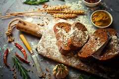 Bread baking in the composition royalty free stock photo