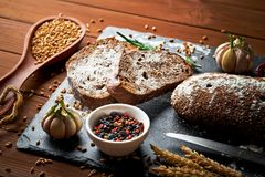 Bread baking in the composition royalty free stock images