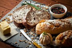 Bread baking in the composition royalty free stock photography
