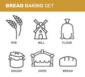 Bread baking set of icons. Bread production line. Rye and flour Stock Image