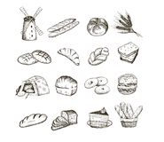 Bread and baking. Bread. set of vector sketches stock illustration