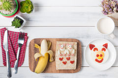 Bread and banana of kid breakfast Stock Images