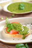 Bread with basil dressing Stock Image