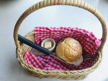 Bread , basket royalty free stock photo