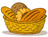 Bread in a basket. Food: tasty fresh bread, loafs and rolls in a basket Royalty Free Stock Photography