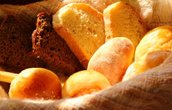 Bread in the basket. Different varieties of bread in the basket Royalty Free Stock Image