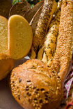 Bread basket. Basket with wide assorment of bread Stock Photos