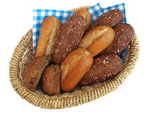 Bread basket. A basket with white and brown bread Royalty Free Stock Images