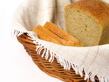 Bread in basket. On white Stock Photos