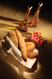 Bread on basket. Various fresh baked bread on basket royalty free stock images