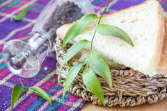 Bread basket. With pepper and leaf Royalty Free Stock Photo