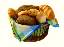 Bread in the basket. Baking products isolated on white Stock Image