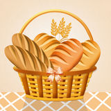 Bread in the basket. Illustration of bread in the basket vector illustration