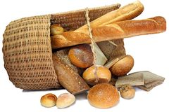 Bread in basket. Isolated pastry bread in basket. This series royalty free stock photos