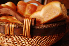 Bread in a Basket. Fresh made bread in a woven basket Royalty Free Stock Photography