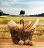 Bread. In basket with a background Royalty Free Stock Photo