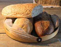 Bread in basket. Bakery bread brown bun food royalty free stock photography