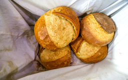 Bread in a basket. Bakery Bread Concept and Decoration royalty free stock photo