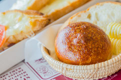 Bread in the basket. Bread and butter in the basket Stock Photo