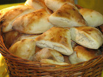 Bread basket close-up. Filled with pastry Royalty Free Stock Photography