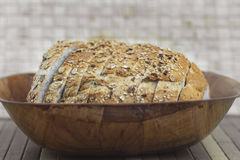 Bread on basket Stock Photos