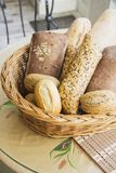 Bread in a basket. Closeup of some long  French baguette bread Stock Photo