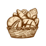 Bread basket. Different breads in the basket Royalty Free Stock Photography