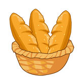 Bread in Basket isolated illustration Royalty Free Stock Image