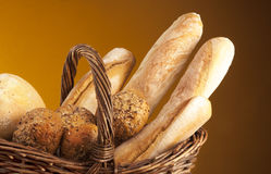 Bread. Basket with many kind of bread Stock Image