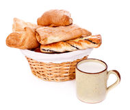 Bread Basket and Mug of Milk Royalty Free Stock Photo