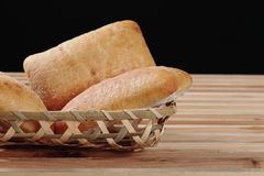 Bread in basket. Some pieces of bread in a basket Stock Image