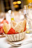 Bread Basket on Table Stock Photo
