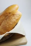 The bread in the basket. Two baguette in the basket Royalty Free Stock Photography