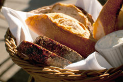 Bread in basket under sunlight Royalty Free Stock Photography
