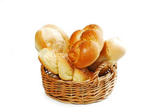 Bread basket on white Royalty Free Stock Photos