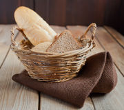 Bread on the basket Royalty Free Stock Image