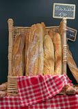 Bread and basketful to bread from the baker Royalty Free Stock Photos