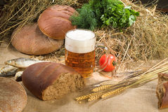 Bread And Beer. Different kinds of bread and pastry royalty free stock photos