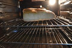 Bread being cooked in the oven Royalty Free Stock Photo
