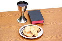 Bread, Bible and Chalice on pulpit Royalty Free Stock Image