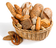 Bread in a big basket Royalty Free Stock Images