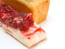 Bread and the big piece of meat Royalty Free Stock Images