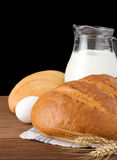 Bread on black background Royalty Free Stock Photography