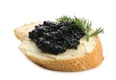 Bread with black caviar and butter Royalty Free Stock Photos