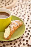 Bread with black coffee Stock Image