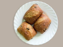 Bread with black olive. Fresh baked bread with black olive for delicious breakfast stock photo