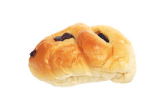 Bread with black raisin isolated on white Stock Photography