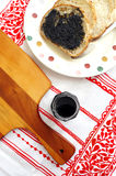 Bread with black sesame paste spread Stock Image